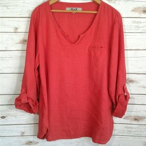 FLAX Linen Tunic Roll Tan Sleeves Red Orange